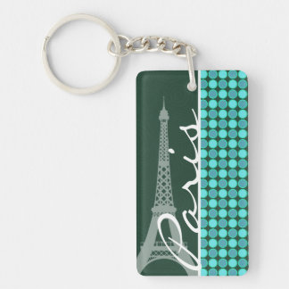 Green & Turquoise Eiffel Tower Acrylic Keychain