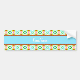 Green Turquoise Girly Diamonds Pattern Bumper Stickers
