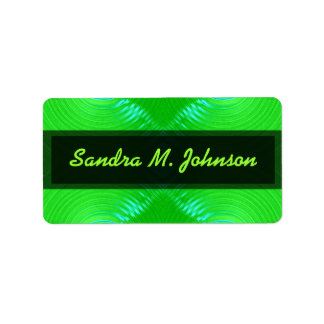green turquoise address label