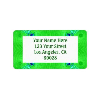green turquoise address label