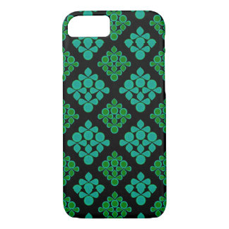 Green Turquoise Leaves Rhomb Pattern iPhone 7 Case