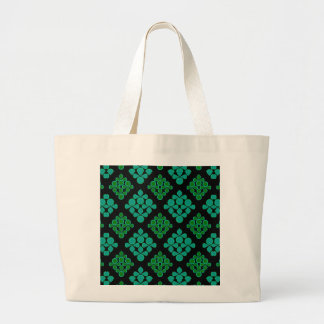 Green Turquoise Leaves Rhomb Pattern Jumbo Tote Bag