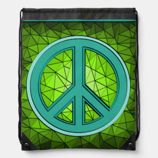 Green & Turquoise Peace Jewel Drawstring Backpack