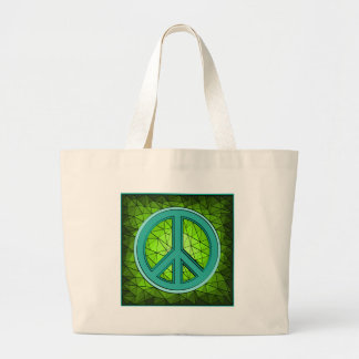 Green & Turquoise Peace Sign Tote Bag