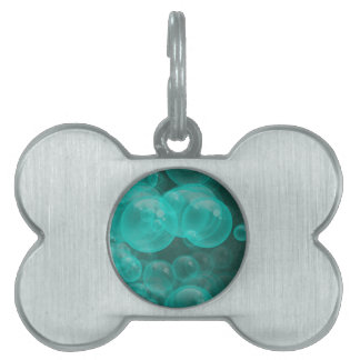 green- turquoise playful bubbles pet tag