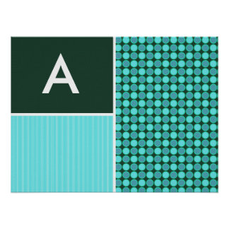 Green Turquoise Polka Dots Posters
