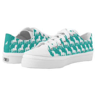 Green Turquoise Unicorn Pattern Trendy Stylish Fun Printed Shoes