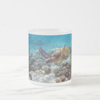 Green Turtle Frosted Glass Coffee Mug