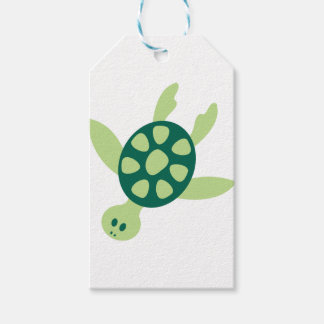 Green Turtle Swimming Gift Tags