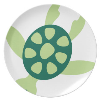 Green Turtle Swimming Plate