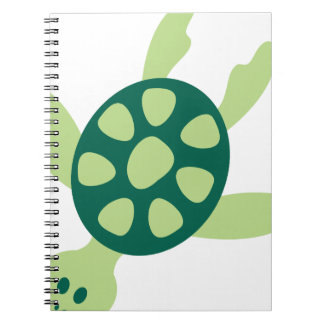 Green Turtle Swimming Spiral Notebook