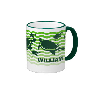 Green turtles in green waves coffee mug