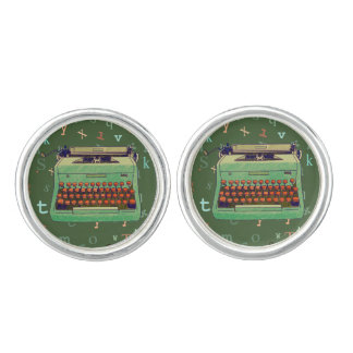 Green Typewriter Design Cufflinks