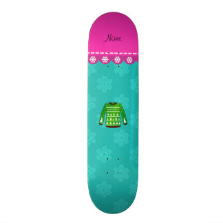 Green ugly christmas sweater turquoise snowflakes skateboard