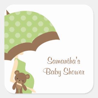 Green Umbrella Baby Shower Stickers
