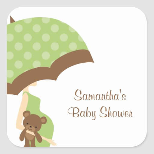Green Umbrella Baby Shower Stickers Square Stickers