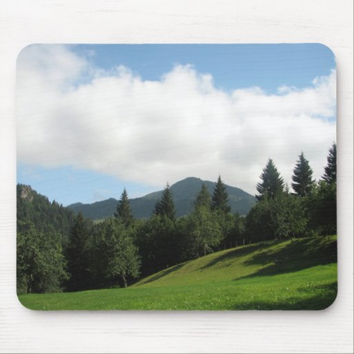 green under clouds mousepad