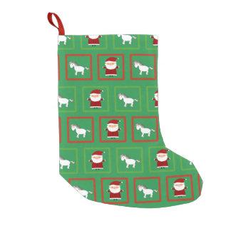 Green unicorns santa claus pattern small christmas stocking