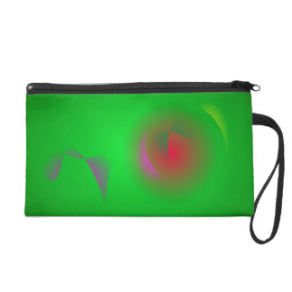 Green Universe and a Red sun Wristlet Purse