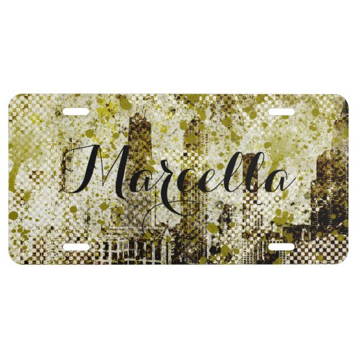 Green Urban City Grunge Personalized License Plate