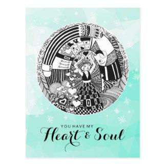 Green Valentine Heart & Soul Nutcracker Love Postcard
