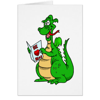 Green Valentine's Day Dragon Greeting Card