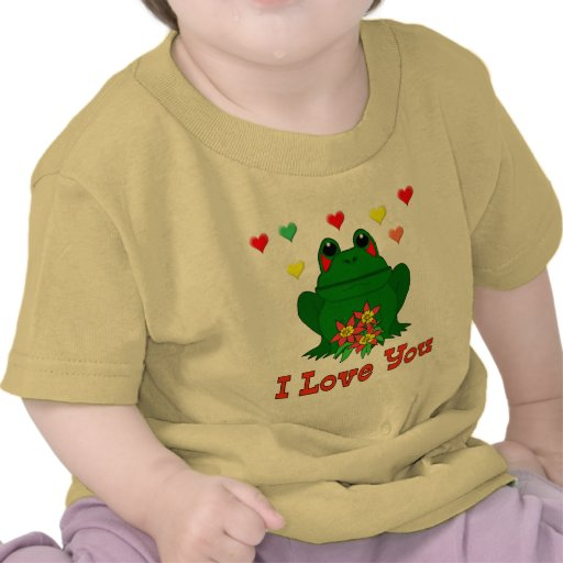 Green Valentine's Day Frog Tee Shirts