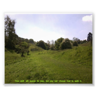 Green Valley Path Quote Photographic Print