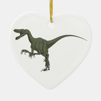 Green Velociraptor Dinosaur Ceramic Ornament