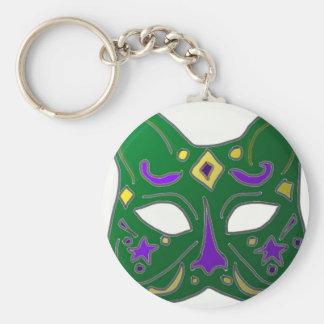 Green Venetian Cat Mask Design Key Ring