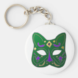 Green Venetian Cat Mask Design Key Ring