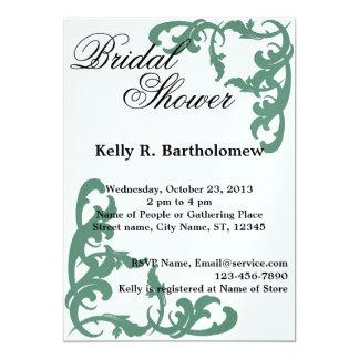 Green Victorian Flourish Filigree Bridal Shower 13 Cm X 18 Cm Invitation Card