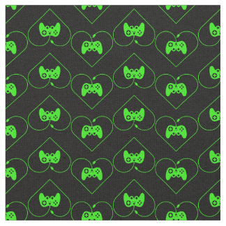 Green Video Game Controller Heart Pattern Fabric