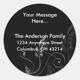 Green Vine Decorative D6 Return Address Labels Round Sticker