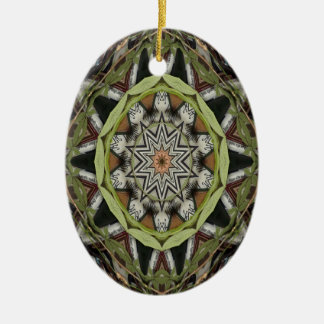Green Vine Kaleidoscope Oval Christmas Ornament