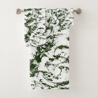 Green Vine Stylised Modern Ornament Bath Towel Set