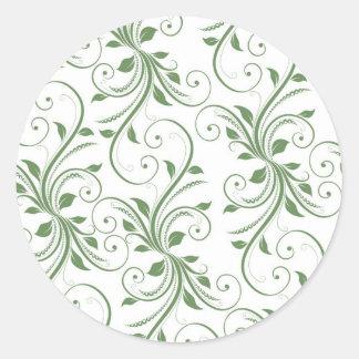 Green Vines Round Sticker