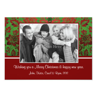Green Vintage damask Christmas Card with photo