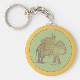 green vintage elephant basic round button key ring