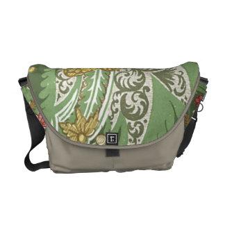 Green Vintage Floral Messenger Bag