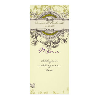Green Vintage Floral Wedding Menu Card