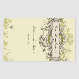Green Vintage Floral Wedding Wine Sticker