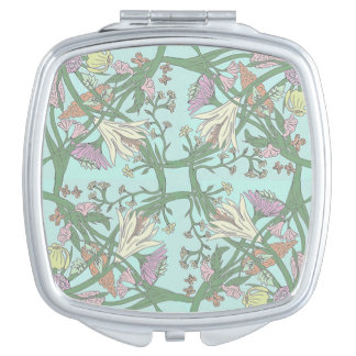 Green Vintage Flowers Mirror Compact Makeup Mirrors