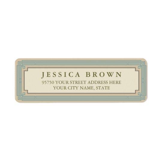 Green vintage frame custom return address label