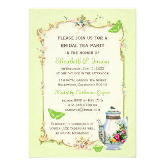 Green Vintage French Bridal Tea Party Invite