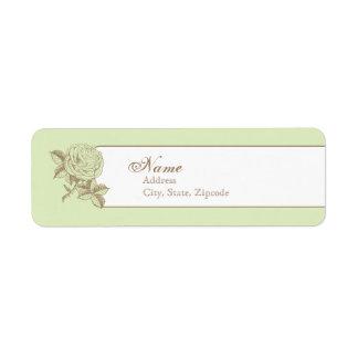 Green Vintage French Return Address Label