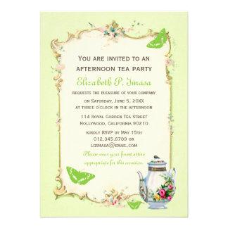 Green Vintage French Tea Party Custom Invites