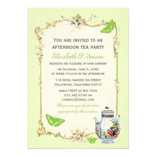 Green Vintage French Tea Party Custom Invites