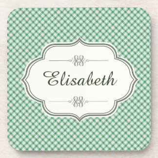 Green vintage gingham calligraphy name coaster