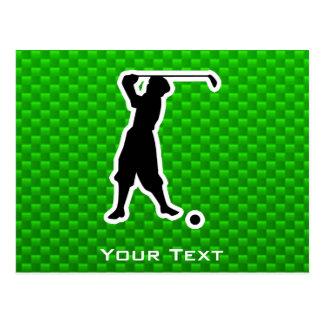 Green Vintage Golfer Postcard